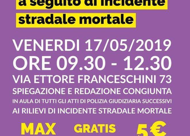Corso sugli Atti di Polizia Giudiziaria a seguito di incidente stradale mortale- Roma
