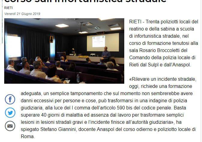 LA POLIZIA LOCALE DELLA SABINA AL CORSO DI FORMAZIONE DI INFORTUNISTICA STRADALE ANASPOL-SULPL