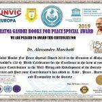 Premio Mahatma Gandhi per il Presidente ANASPOL Alessandro Marchetti