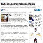 Truffe agli anziani: Conferenza c/o Oratorio S.Filippo Neri ad Aprilia
