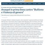 """Conferenza a Roma presso il Palazzo delle Federazioni del CONI dal tema """"Bullismoe Violenza di genere: come contrastarlo"""""""